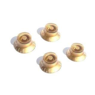 4 GOLD TOP HAT BELL KNOBS